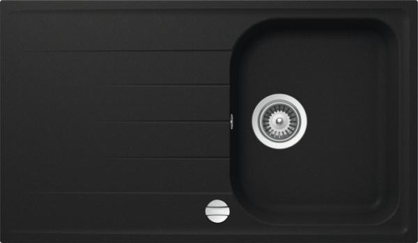 Granitspüle S 860, black mit Excentergarnitur und Siebkorbventil