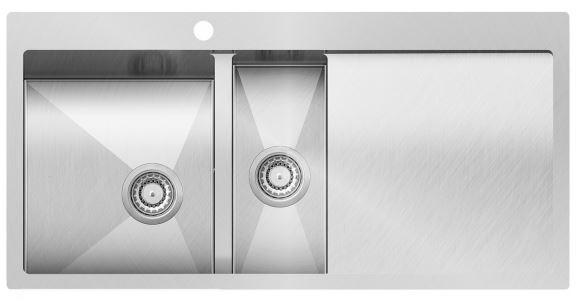 Edelstahl- Einbauspüle links 1000x510 in Edelstahloptik