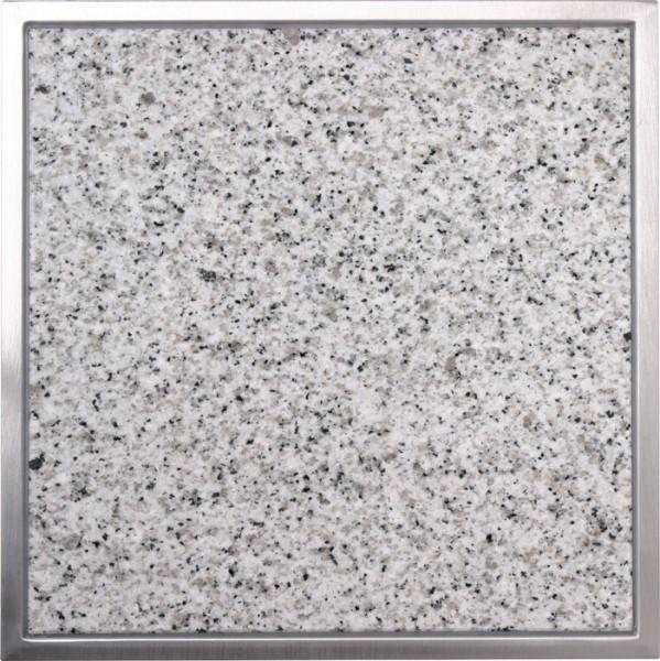 Granitfeld mit Edelstahlrahmen 250 x 250mm, Bianco Cristall