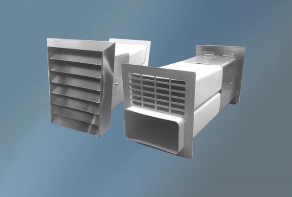 Ab-und Zuluftmauerkasten, Edelstahlgitter, Flachanschluss, Durchmesser 150 mm