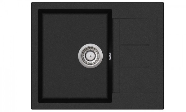 Granitspüle W620, black incl. Drehexcentergarnitur und Siebkorb in chrom