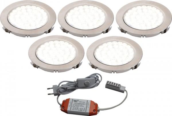 LED ARI- Einbaustrahlerset 5er mit Konverter, 2m Zuleitung, NW
