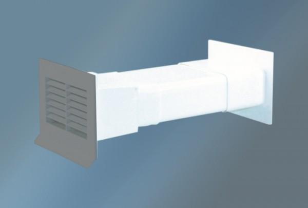 Mauerkasten grau flach 125 mm und Rückstauklappe grau