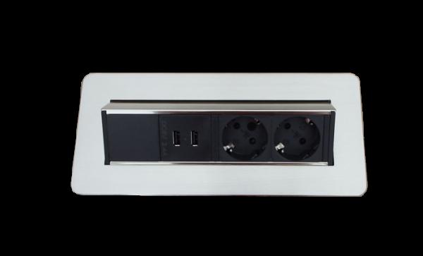 2-Fach Steckdose, 2 USB Charger mit Schukostecker
