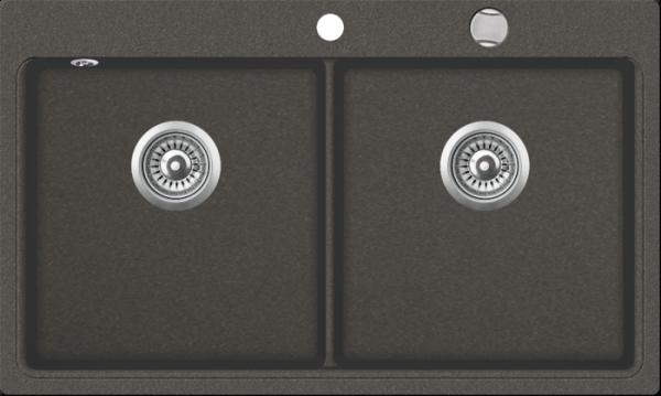 Granitspüle mit Doppelbecken W DB860 , gray incl. Drehexcentergarnitur und Siebkorb in chrom