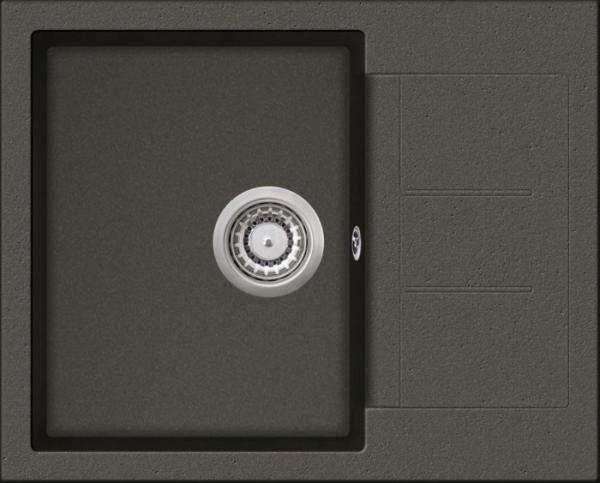 Granitspüle W 620, gray incl. Drehexcentergarnitur und Siebkorb in chrom