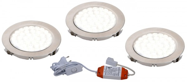 LED ARI- Einbaustrahlerset 3er mit Konverter, 2m Zuleitung, NW