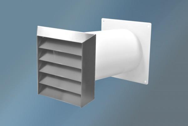 Mauerkasten mit Edelstahlgitter, Flachanschluss, Durchmesser 125 mm