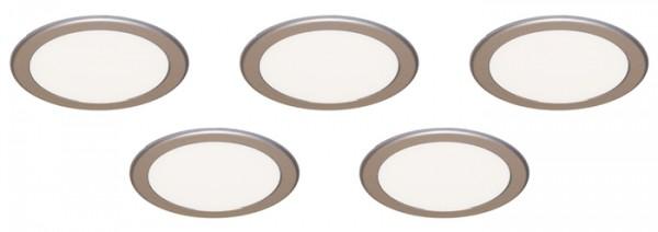 LED Strahler Moonlight, 5er Set, Einbau Edelstahl, 3,6W, inkl. Konverter und Fernbedienung