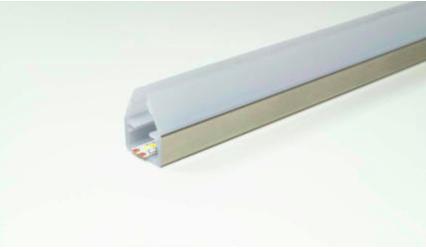 LED Glaskantenprofil Fly 15x19 mm für 6-8 mm Glas Kst.silber L:2050 mm