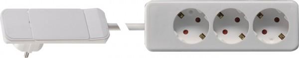 Plug mit Hebel/Auswurfmechanik, weiß 3-fach Steckdose
