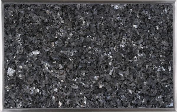 Granitfeld mit Edelstahlrahmen 510 x 325mm, Labrador Blue Pearl