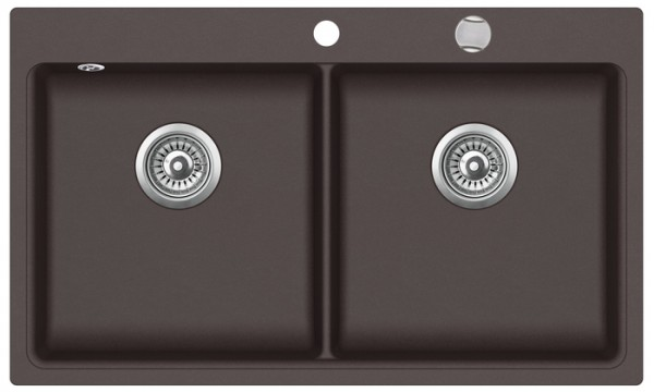 Granitspüle mit Doppelbecken W DB860 , brown incl. Drehexcentergarnitur und Siebkorb in chrom