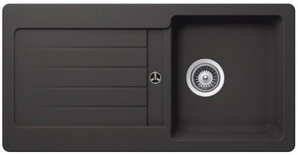 Granitspüle S-VEL860, gray mit Excentergarnitur und Siebkorbventil