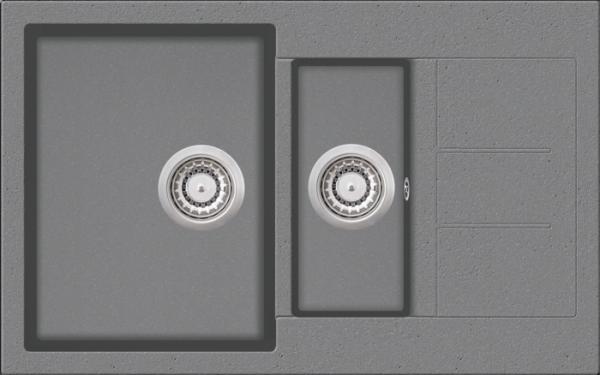 Granitspüle W 800, light gray incl. Drehexcentergarnitur und Siebkorb in chrom