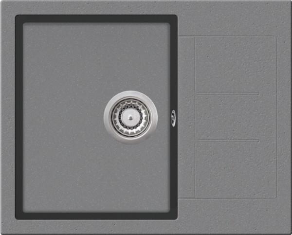 Granitspüle S 860, ligth gray mit Excentergarnitur und Siebkorbventil