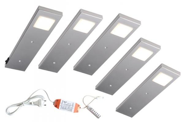 Diabolo 5er LED Set, 5x 2,2W, 4000K m. Schalter, Sm Anschlußkabel, COB Leuchtmittel