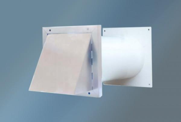 Mauerkasten mit Lüftungshaube für Rechteckanschluss, Durchmesser 125 mm