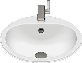 Einbauwaschbecken Emaille mit Hahnloch, Farbe: weiß pflegeleicht