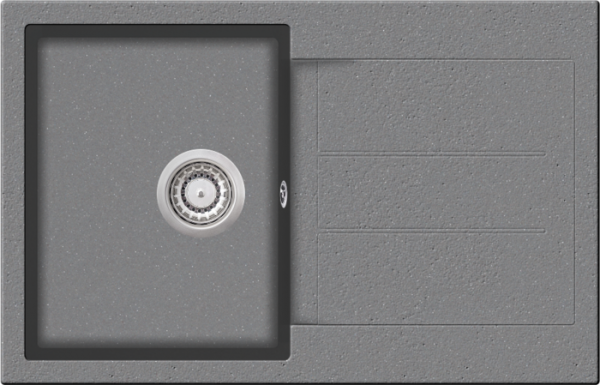 Granitspüle W 780, light gray incl. Drehexcentergarnitur und Siebkorb in chrom