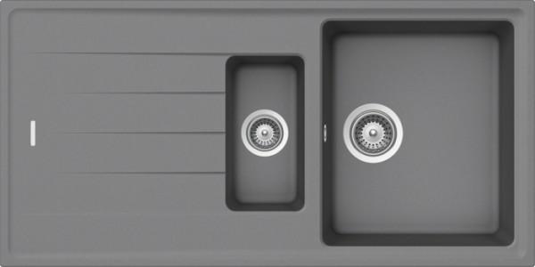 Granitspüle S 1000, ligth gray mit Excentergarnitur und Siebkorbventil