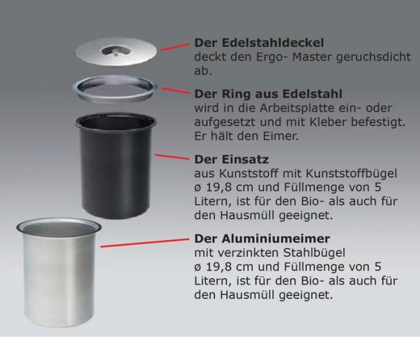 Ergo-Master small, 5 L Aluminium Einsatz Mülleimer Abfalleimer Abfallsammler