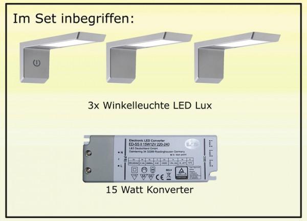 LED Lux Winkelleuchte 3er Set inkl. Masterleuchte 9W Leuchtenset, 15W Kon.