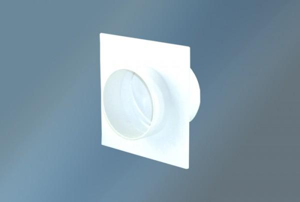Wandanschluß mit Rückstauklappe rund Durchmesser 125 mm,weiß