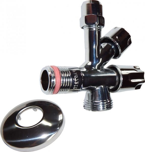 Kombinations-Eckventil für Geräte- anschluss mit Schubrosette