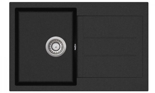 Granitspüle W 780, black incl. Drehexcentergarnitur und Siebkorb in chrom