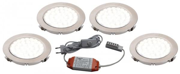 LED ARI- Einbaustrahlerset 4er mit Konverter, 2m Zuleitung, NW