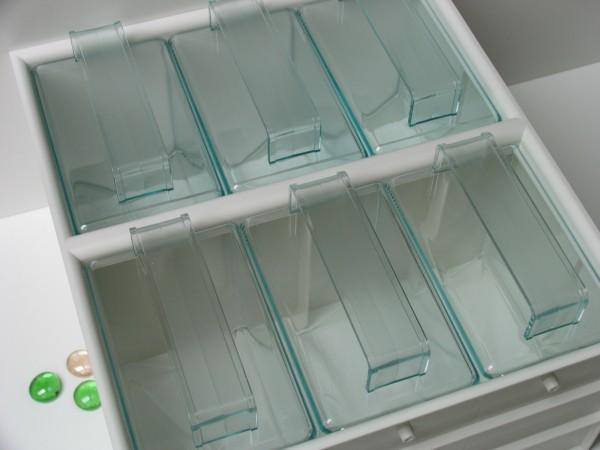 6er Schüttensatz Gehäuse weiß, inkl 6 Schütten grüntransparent Vorratsbox Gewürze