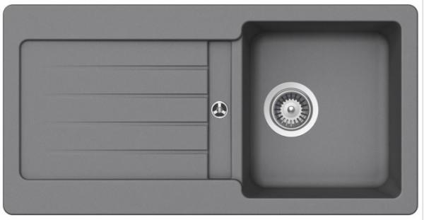 Granitspüle S-VEL860, light gray mit Excentergarnitur und Siebkorbventil
