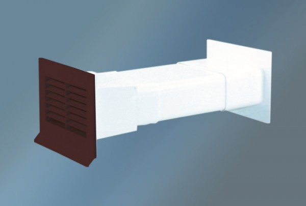 Mauerkasten mit Flachanschluss und Rückstauklappe, braun