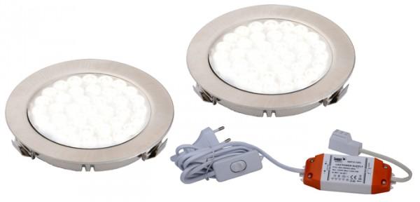 LED ARI- Einbaustrahlerset 2er mit Konverter, 2m Zuleitung, NW