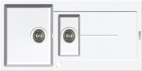 Einbauspüle E 1000, weiß Restebecken,Excenter,ab 60er Unterschr.
