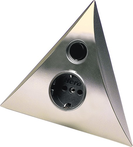 Steckdosen-Pyramiden-Element für Eckeinbau, Edelstahl