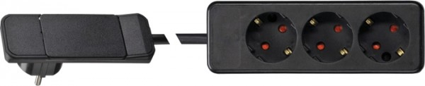 Plug mit Hebel/Auswurfmechanik, schwarz 3-fach Steckdose