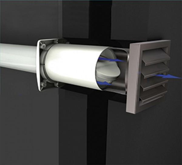 Aeroboy Energiesparmauerkasten Durchmesser 150 mm, Außengitter Edelstahl