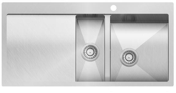 Edelstahl- Einbauspüle rechts 1000x510 in Edelstahloptik