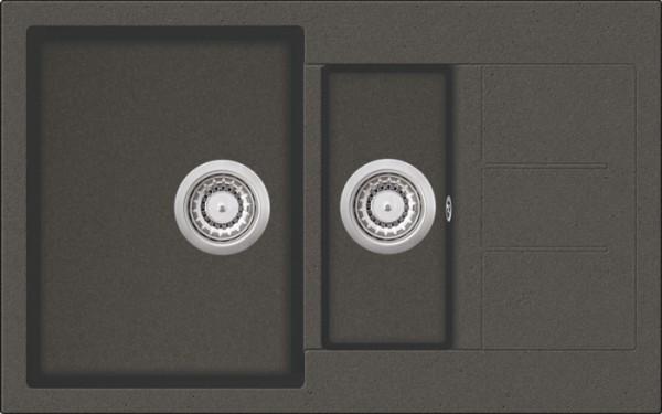 Granitspüle W 800, black incl. Drehexcentergarnitur und Siebkorb in chrom