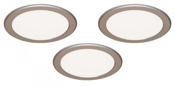 LED Strahler Moonlight, 3er Set, Einbau edelstahl, 3,6W, inkl. Konverter und Fernbedienung